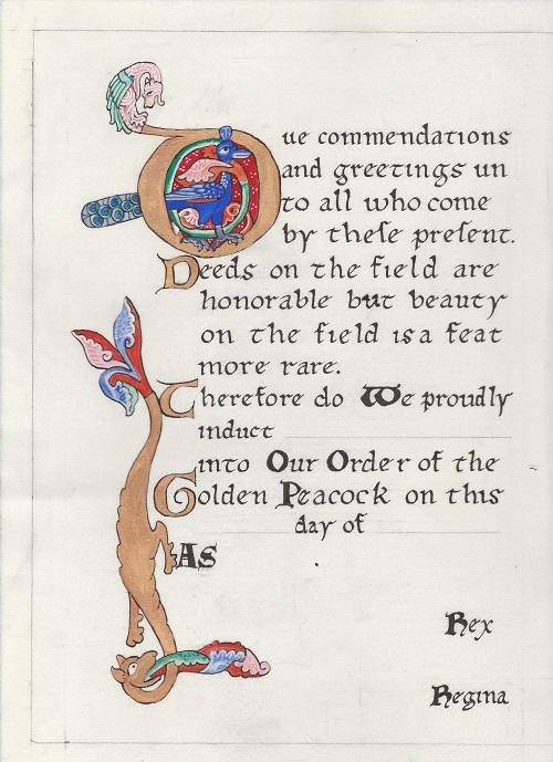Golden Peacock Scroll Blank